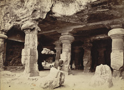 [Interior view of the] Elephanta Caves.
